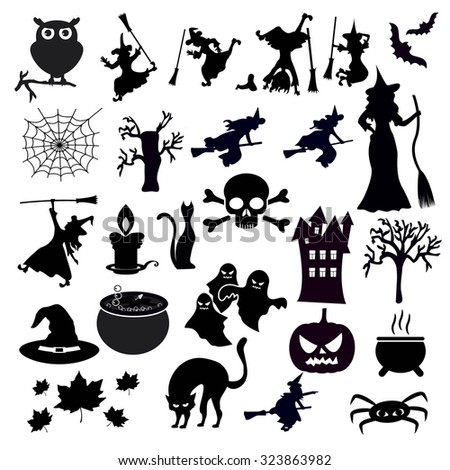 Set of halloween icons on white background - stock vector