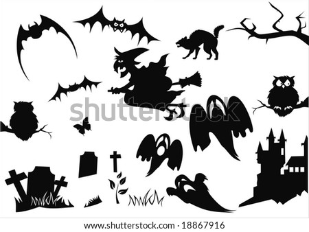 set of halloween items isolated on white - stock vector