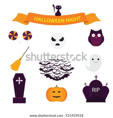 Set Halloween Logo Label Happy Halloween Stock Vector 721459018 ...