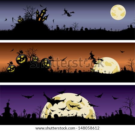 Set of Halloween night banners - stock vector