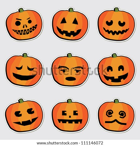set of halloween pumpkin stickers with carved faces