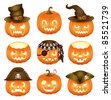 Set of Halloween pumpkins Jack O'Lantern - stock photo