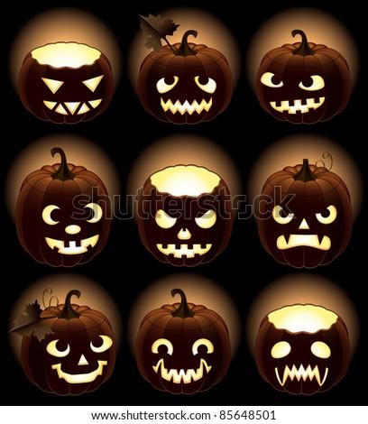 Set of Halloween pumpkins Jack O'Lantern - stock vector