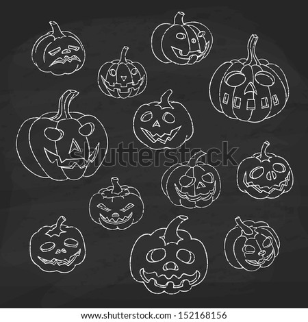 Set of halloween pumpkins. Jack o lantern collection. Chalk texture style. - stock vector