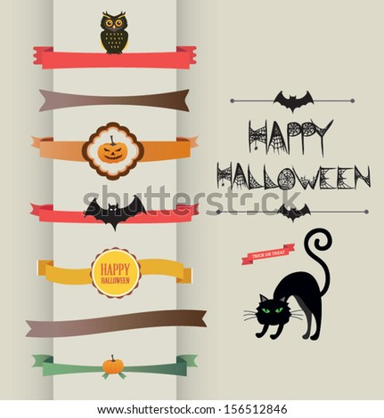Set of Halloween ribbons and Labels - scrapbook elements. Retro vector illustration. - stock vector