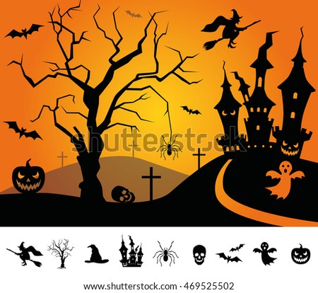 Set of Halloween scene with tree and castle. Vector background for Halloween.