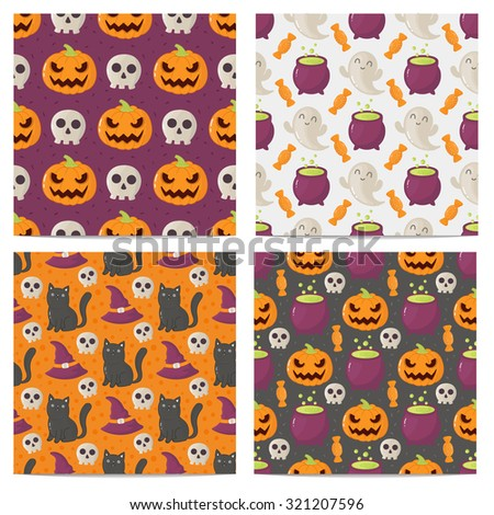 Set of halloween seamless patterns.