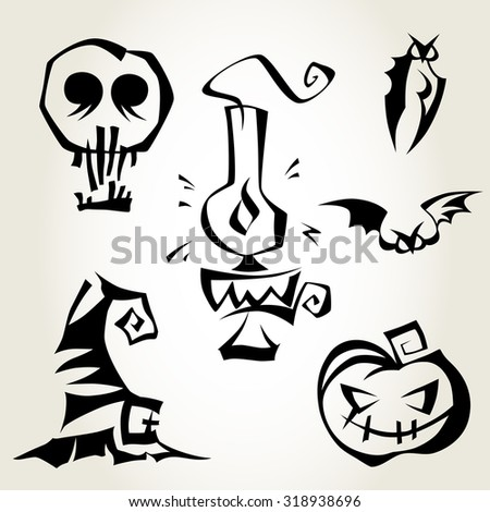 Set of Halloween symbols isolated over white background. Magical symbols for Halloween celebration. Pumpkin, bats, lantern, witch hat and a skull. - stock vector