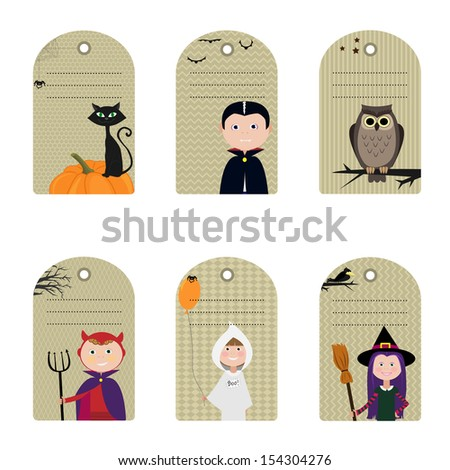 Set of halloween tags/labels.Vector illustration. - stock vector