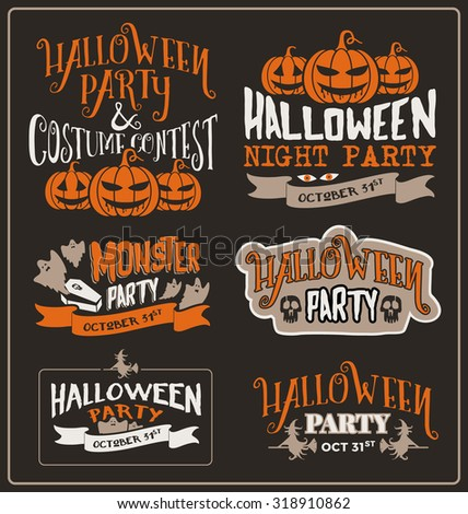 Set of Halloween typographic design for party, costume contest, night party, spooky party. poster. Vector illustration - stock vector