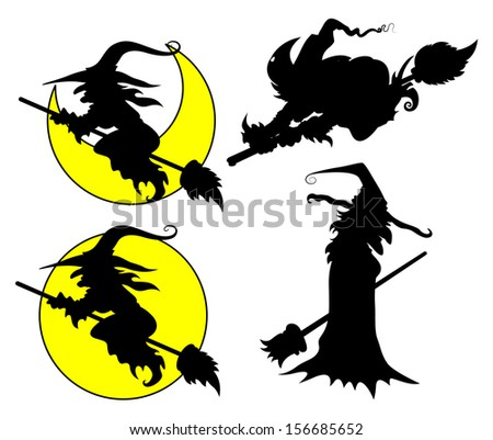 set of Halloween witch vector silhouettes - stock vector