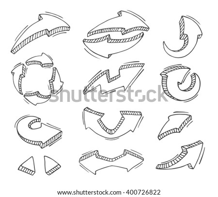 Set of hand draw arrow isolated on white background. Vector Illustration