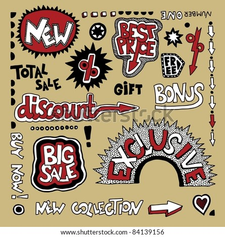 Set of hand draw discount sale stickers and tags - stock vector