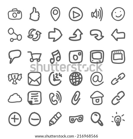 Set of hand draw social icon. Vector illustration