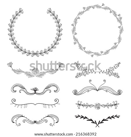 Set of hand-draw vector victory laurel wreaths and elements for stationary. Easy to edit and change colors. - stock vector