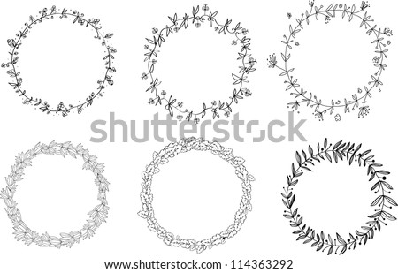 Set of hand-draw vector victory laurel wreaths for stationary. Easy to edit and change colors. - stock vector
