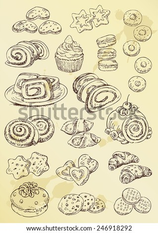 set of hand drawing cakes and cookies - stock vector