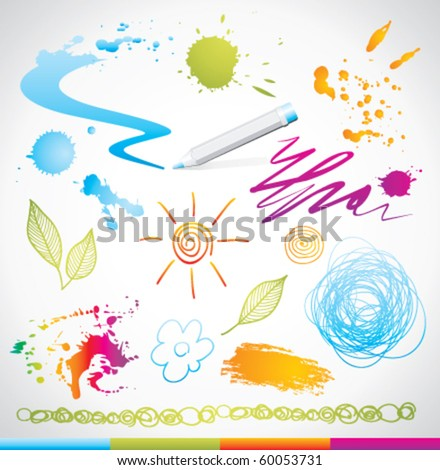 set of hand drawing design elements - stock vector