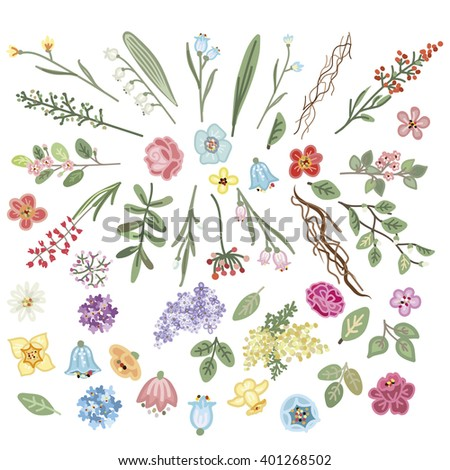 set of hand-drawing flowers - stock vector