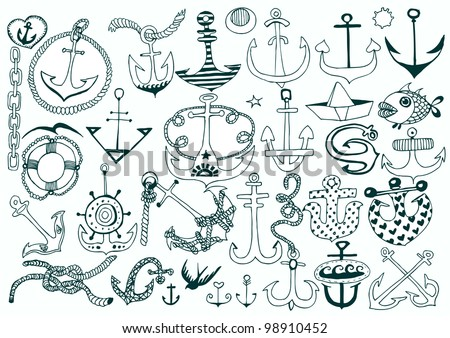 Set of Hand Drawn Anchors on White. Vector - stock vector