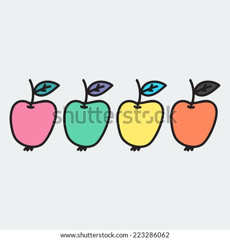 set of hand-drawn apple - illustration on the theme of the summer and autumn - farm, fruit, natural. Pink, green, yellow and orange sweet and tasty apples.  - stock vector