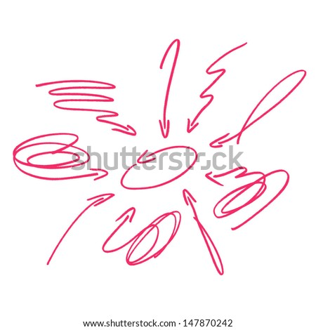 Set of hand drawn arrows pointing in different directions. Signs isolated on white background. - stock vector