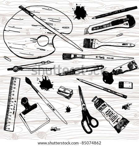 Set of Hand Drawn Artist's Stuff - stock vector