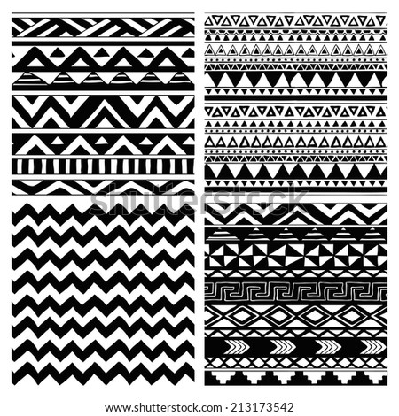 Set of 4 Hand Drawn Aztec Tribal Seamless Black and White Background Patterns. with Pattern Swatches - stock vector