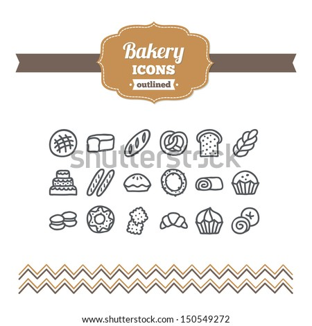 Set of hand drawn bakery icons - stock vector