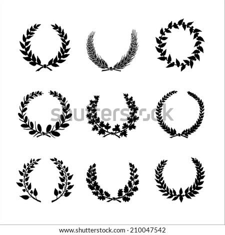 Set Hand Drawn Black White Silhouette Stock Vector 210047542