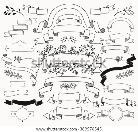 Set Of Hand Drawn Black Doodle Ribbons And Banners Sketched Rustic Decorative Floral Design Elements