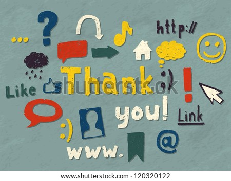 """Set of hand drawn blogging symbols decoration and a """"Thank you"""" text. Vector image. - stock vector"""