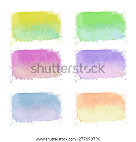 set of hand drawn bright watercolor labels on white - stock vector