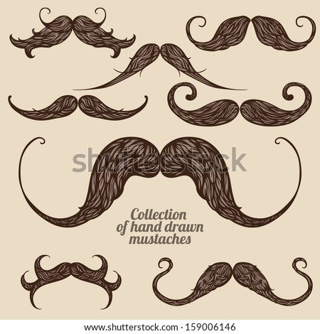 Set of hand drawn brown patterned mustaches - stock vector