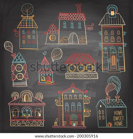 Set of hand drawn buildings in vintage style on dark background. Vector illustration. - stock vector