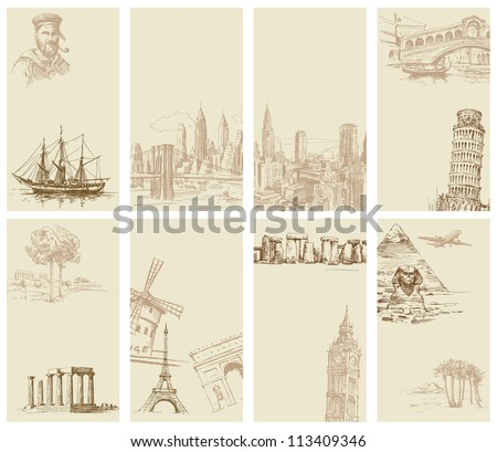 set of hand drawn business cards - stock vector