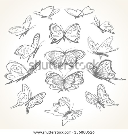 Set of hand drawn butterflies. Pencil sketch. Vector illustration. - stock vector
