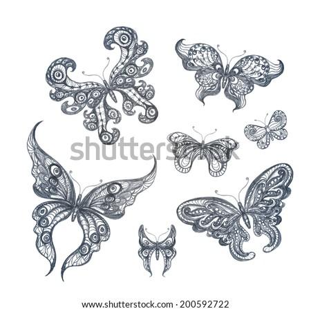 Set of hand drawn butterflies. Pencil sketch. Vector illustration. EPS 10 - stock vector