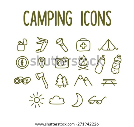 Set of hand drawn camping line icons. - stock vector