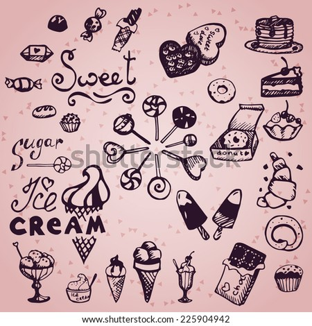 set of hand drawn candy and ice cream doodles - stock vector