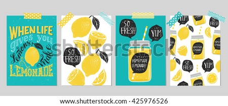 "Set of 4 hand drawn cards. Retro ""When life gives you lemons make lemonade"" motivation poster with modern calligraphy and lemon, cards with lemons,  lemonade speech bubble and handwritten lettering - stock vector"