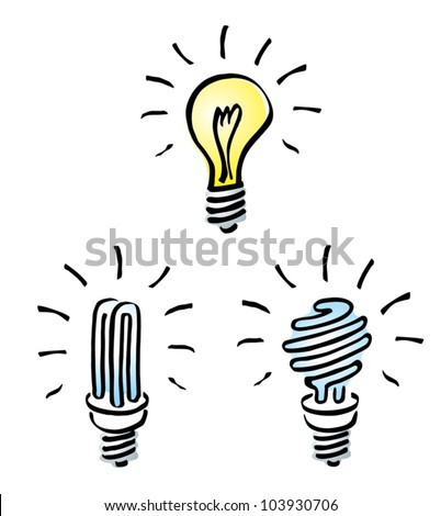 Set of Hand drawn, cartoon light bulbs, Tungsten bulb, orange old generation bulb,  and white energy saving bulb, symbol of ideas - stock vector