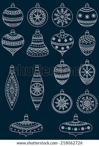 Set of hand drawn Christmas ball. Vector illustration. - stock vector