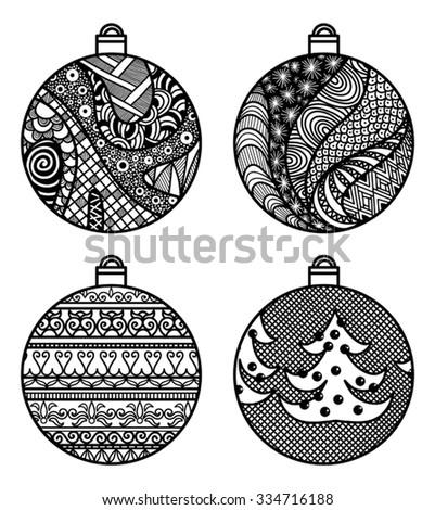 Set Of Hand Drawn Christmas Balls