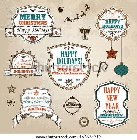 Set of hand drawn christmas decoration  - stock vector