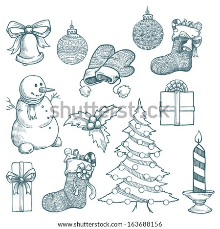 Set of hand drawn Christmas decorations, vector illustration - stock vector