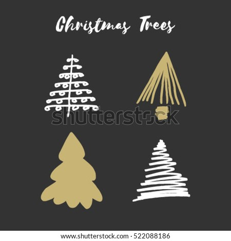 Set of 4 Hand Drawn Christmas Trees. Perfect for Christmas Card Designs. Christmas Tree Doodles