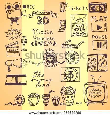 set of hand drawn cinema doodles - stock vector