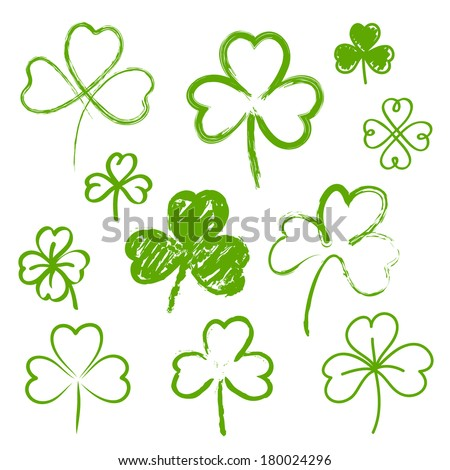 Set of hand drawn clovers - stock vector