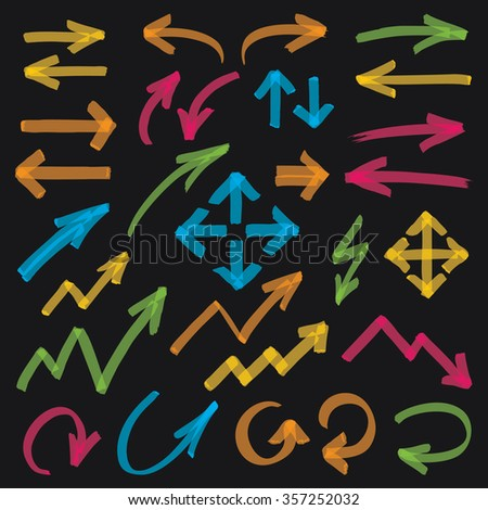 Set of hand drawn colorful highlighter arrows, pointers and arrowheads. Can be used for text highlighting, marking or coloring in your graphics. Optimized for one click color changes. EPS10 vector. - stock vector